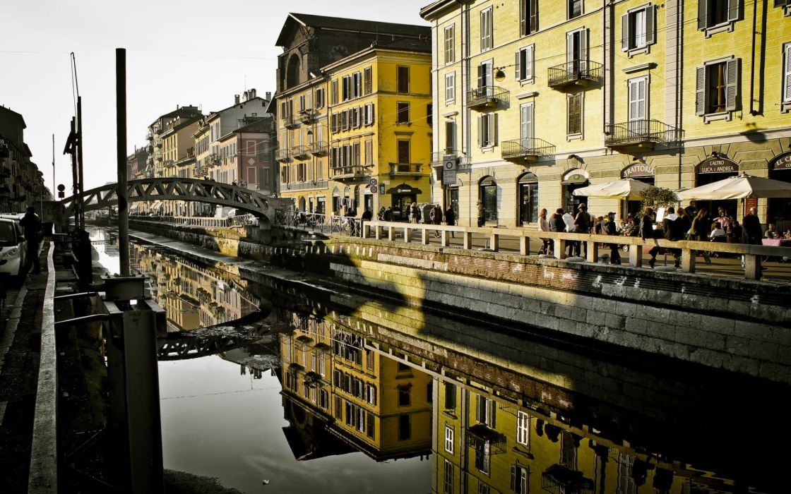 milan italy canal architecture buildings wallpaper