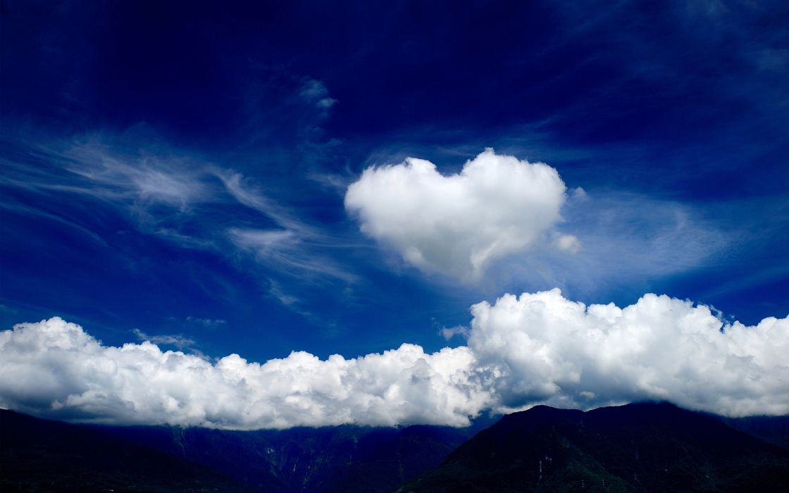 clouds love romance mood heart wallpaper