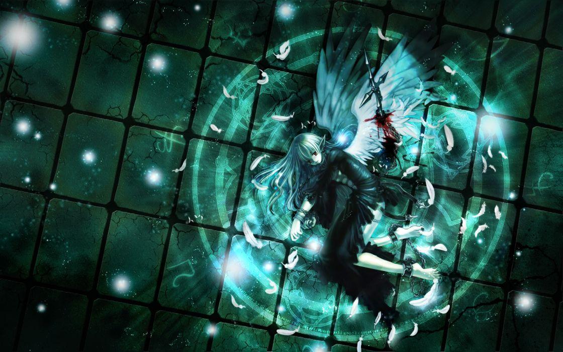Art mizusawa hikaru girl wings angel sword wound blood feathers wallpaper