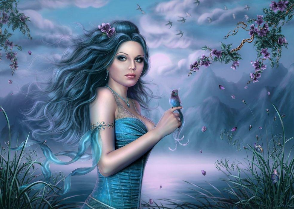 fantasy women cg digital art landscapes bird wallpaper