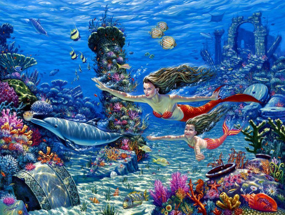 fantasy cg digital art mermaid ocean fish wallpaper