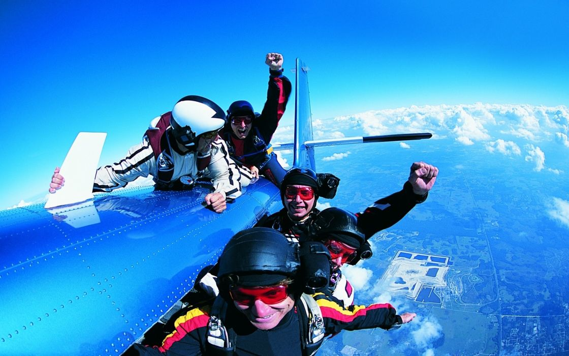 sky diving parachute people men extreme aircraft airplane wallpaper
