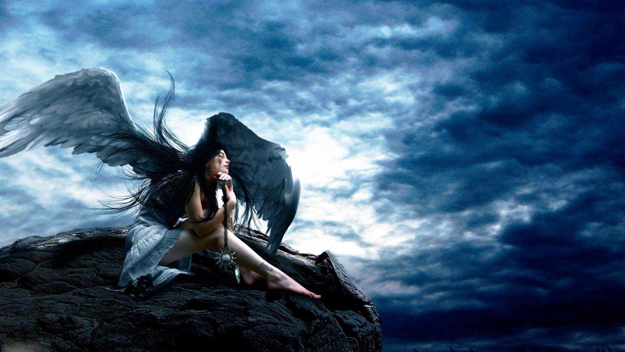 fantasy dark angel women mood angel wallpaper