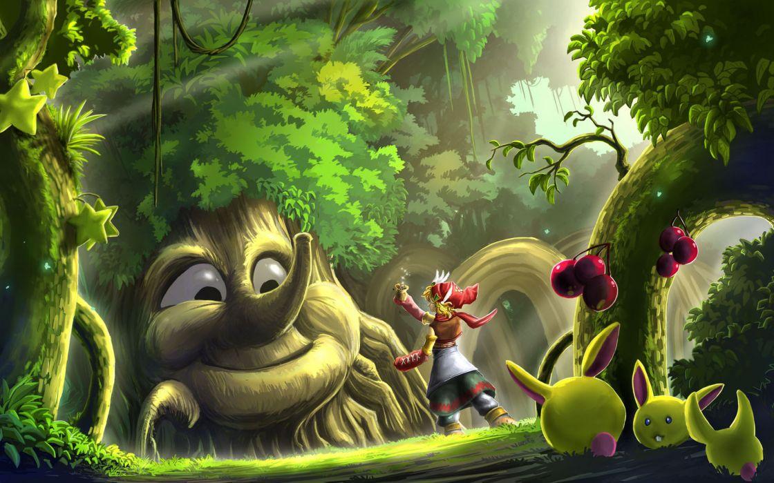 children fantasy trees art wallpaper