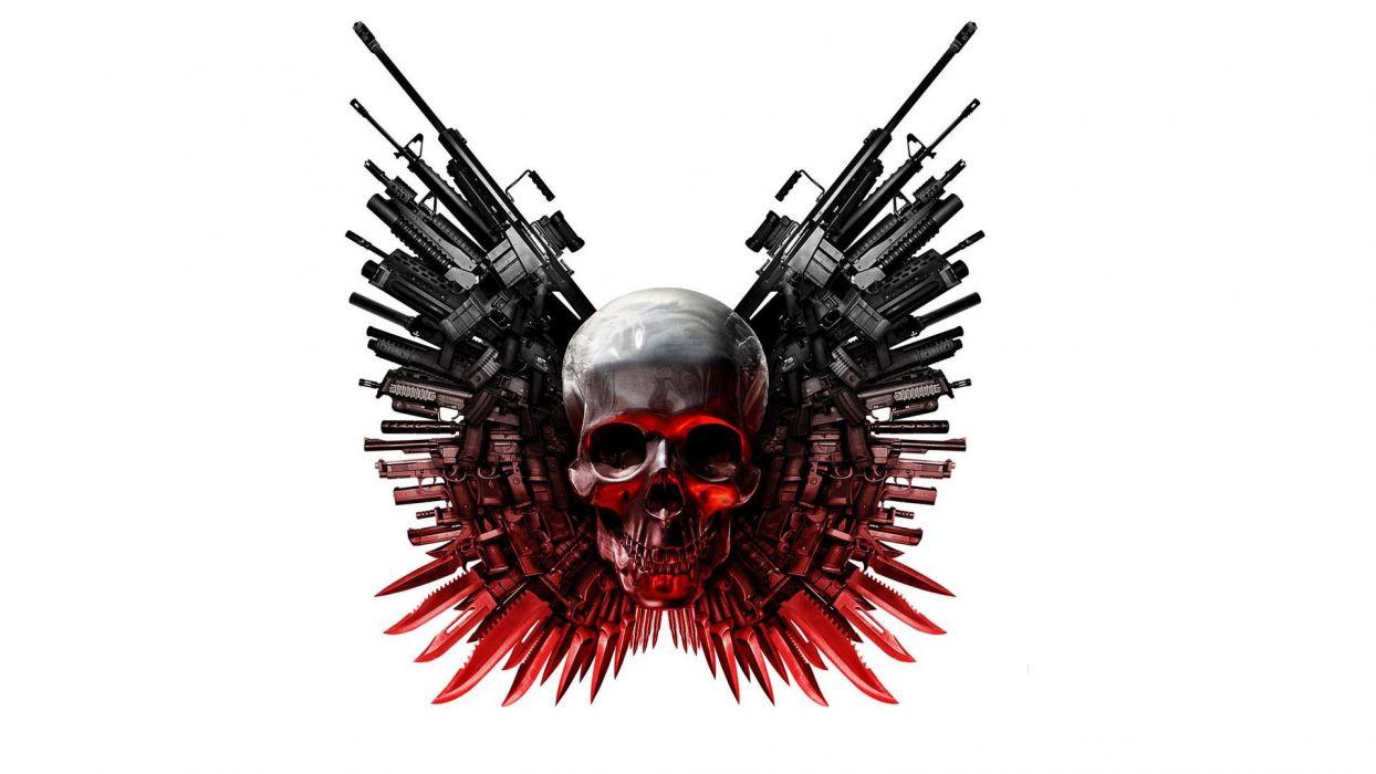 Expendables 3 dark shull horror weapons guns wallpaper