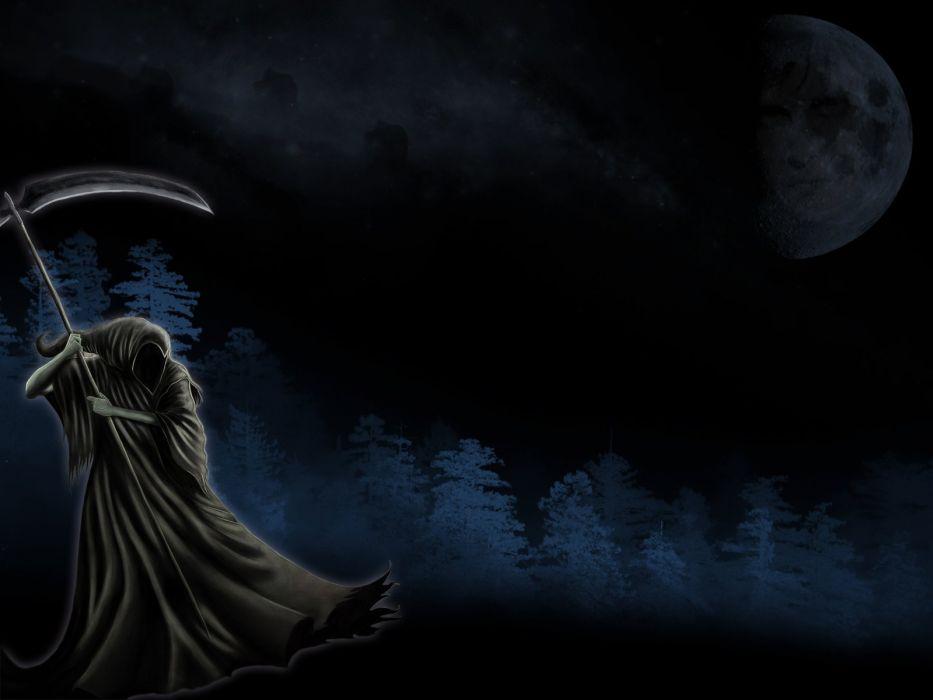 dark horror grim reaper death art wallpaper