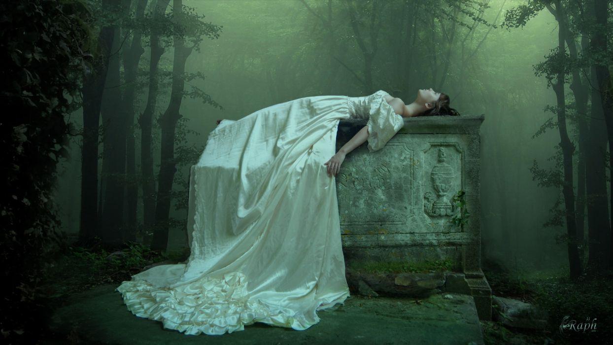 dark gothic horror women trees art cg digital art wallpaper