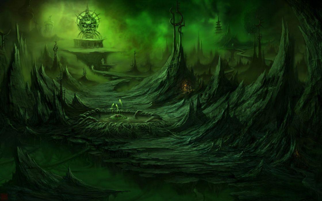 art fantasy dark horror landscapes wallpaper