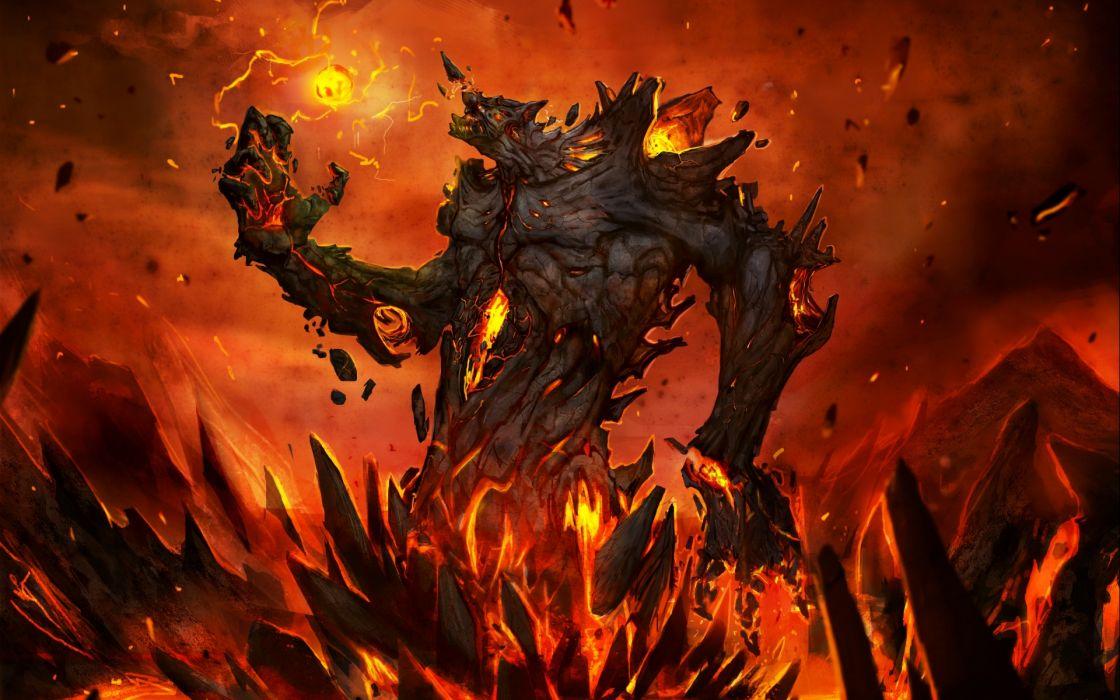 dark horror demon art fire wallpaper