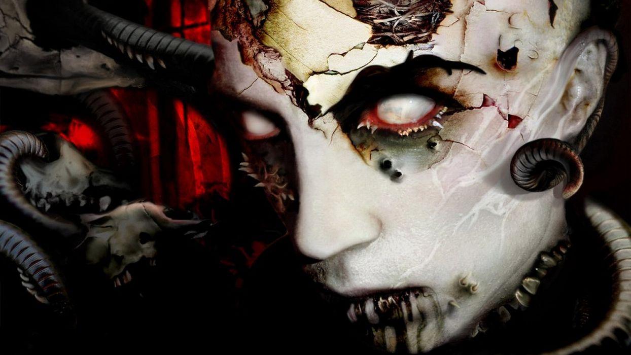 dark horror gothic decay ruin face evil wallpaper