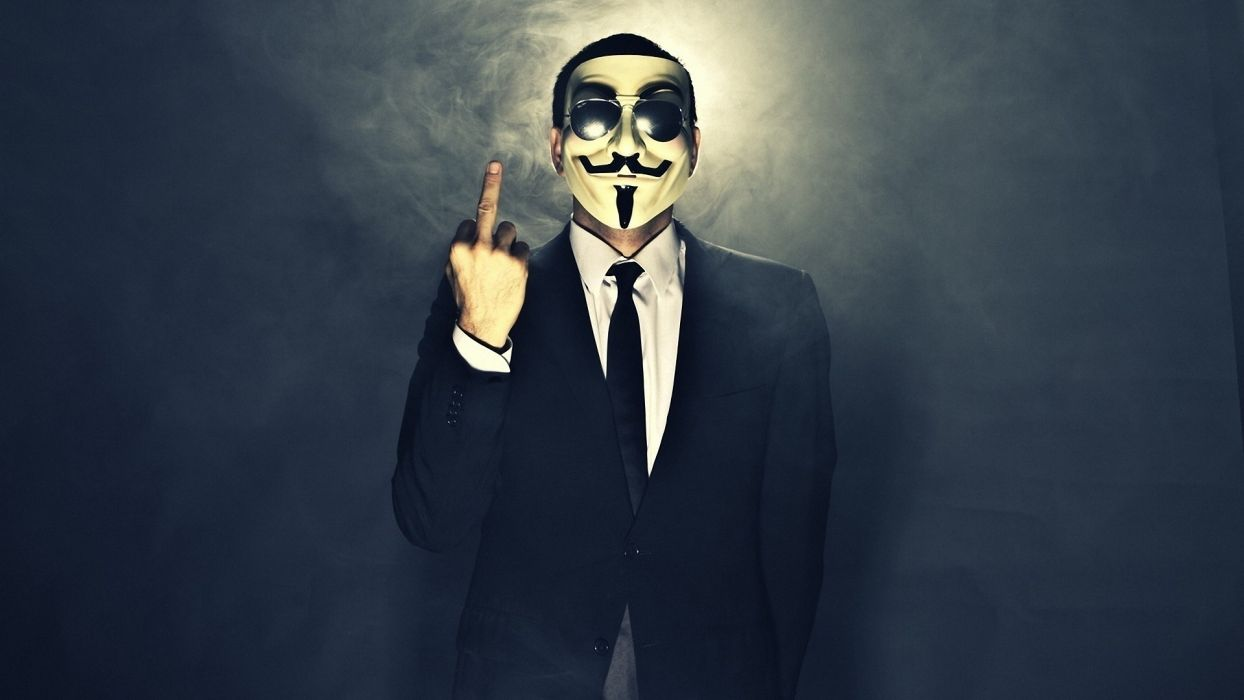 Anonymous dark horror anarchy mask fuck gesture finger wallpaper