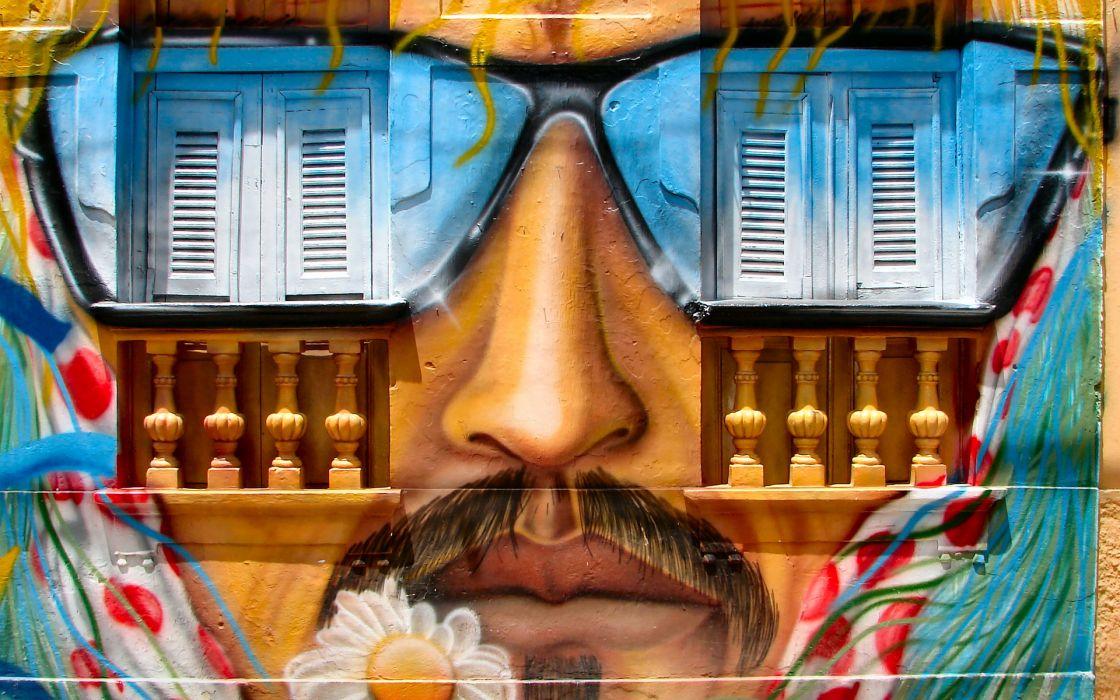 graffiti face glasses urban paint buildings wallpaper