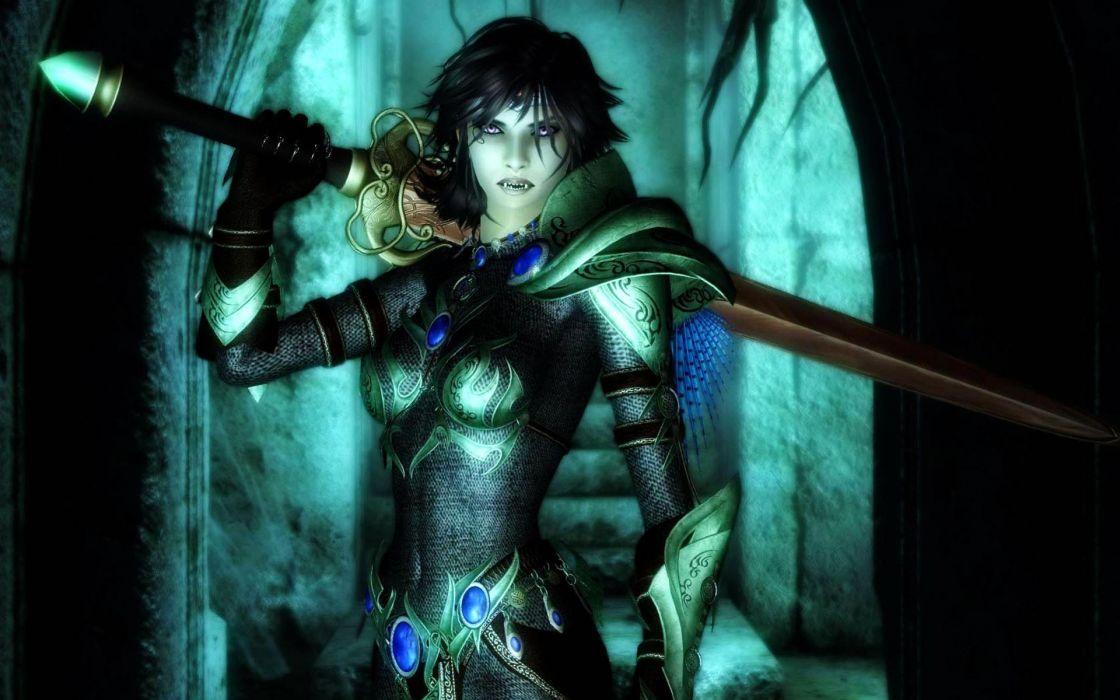 dark horror fantasy vampire women weapons sword wallpaper