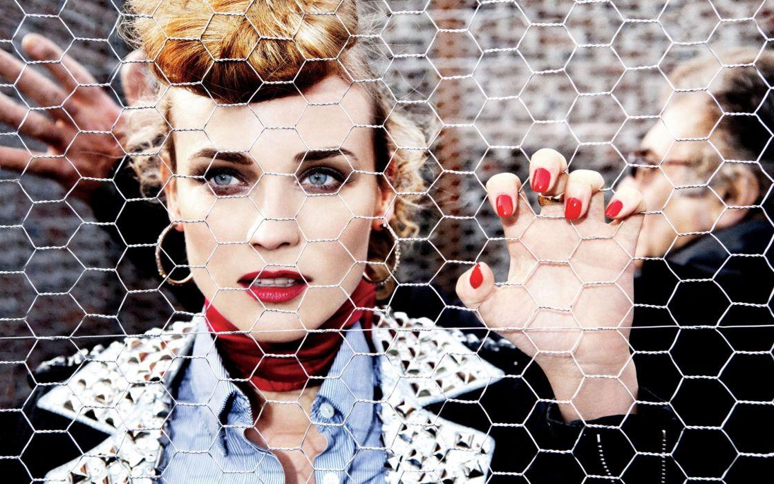 women actress models fashion diane kruger chain link fence wallpaper