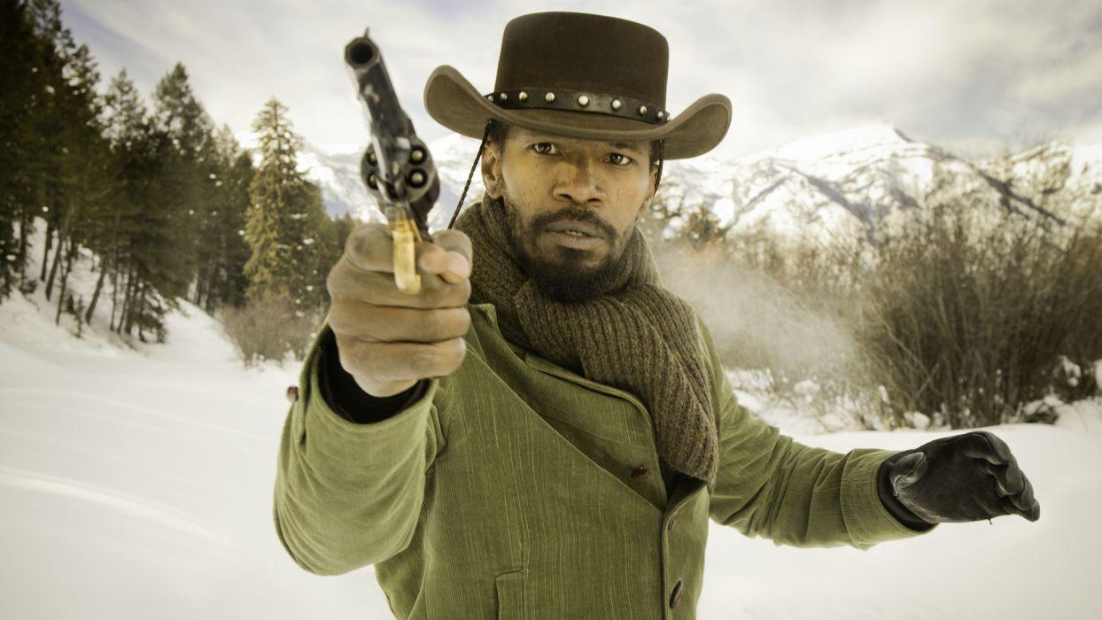 Django Unchained Jaime Foxx Hat Revolver weapons men wallpaper