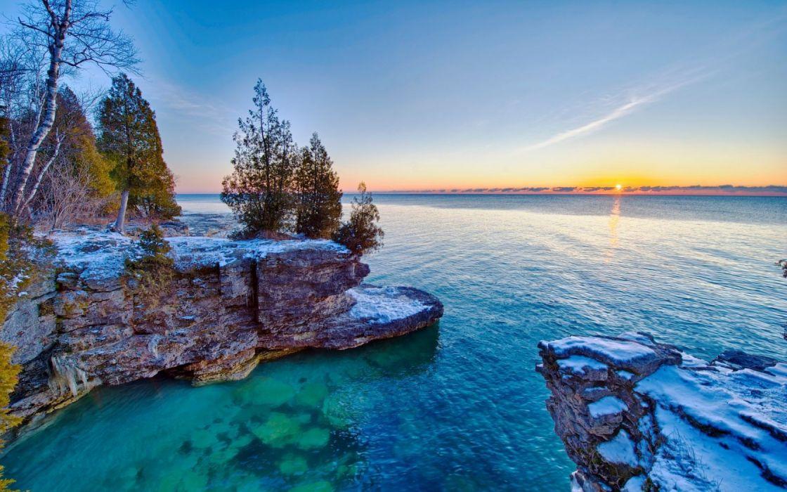 Lake Michigan hdr sky trees sunset wallpaper