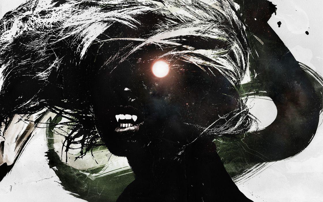 dark horror fantasy vampire fangs wallpaper