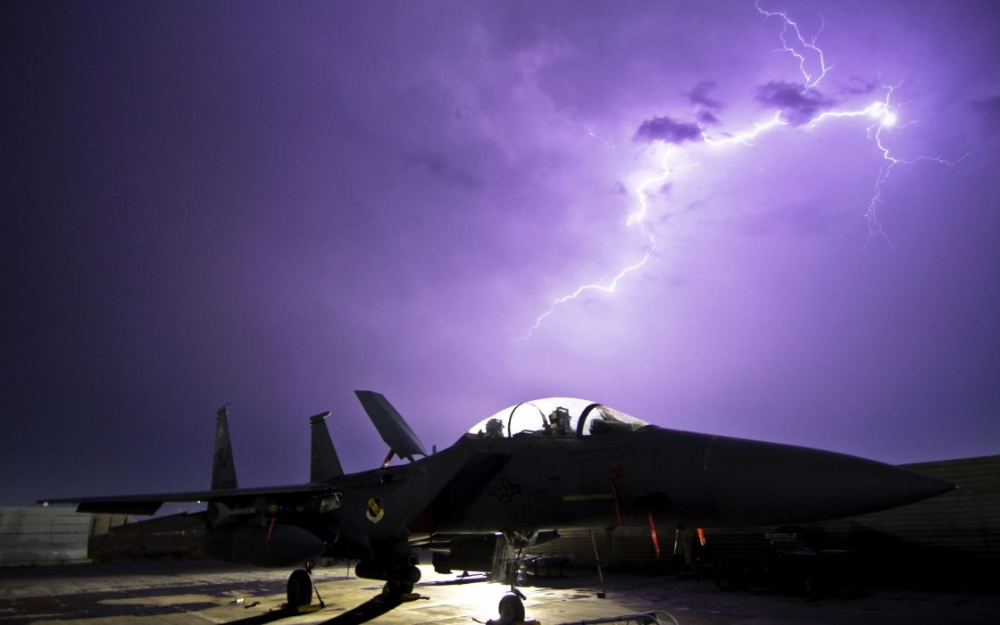 jet fighter carrier airplane military weapons lightning storm wallpaper
