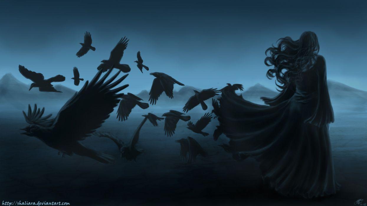 dark horror gothic women raven poe birds art mood wallpaper