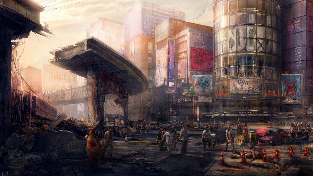 post apocalyptic sci fi dark horror zombie cities wallpaper