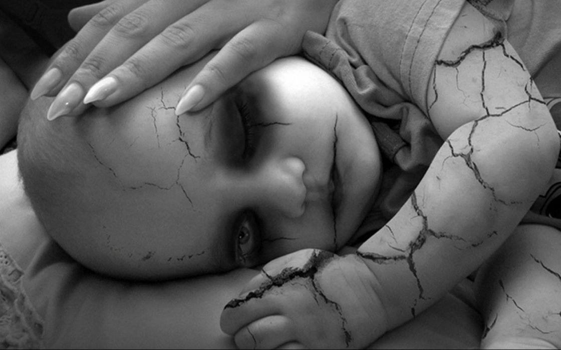 dark horror gothic mood babies face evil wallpaper