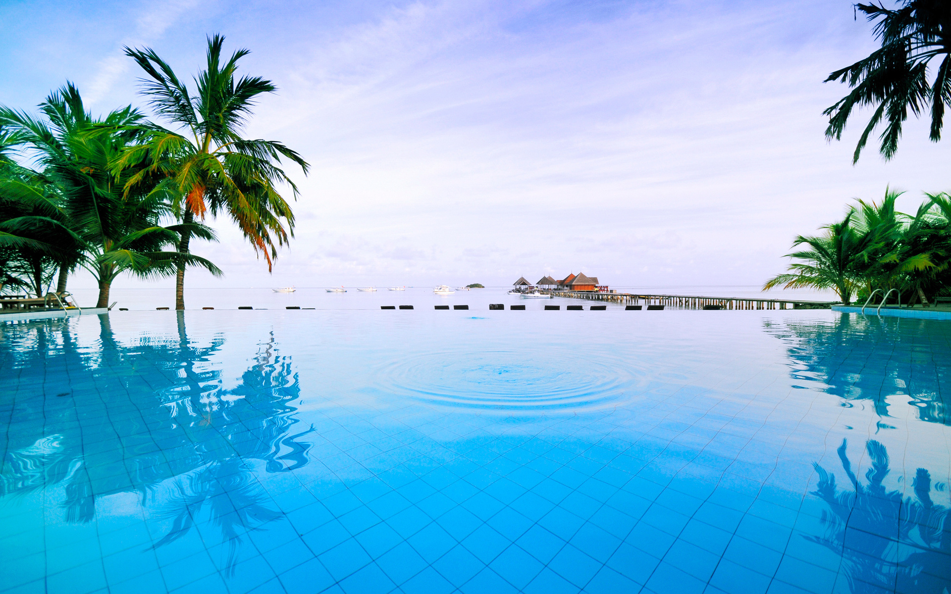 Pool Reflection Mood Zen Ripple Tropical Ocean Relax Vacaction Wallpaper