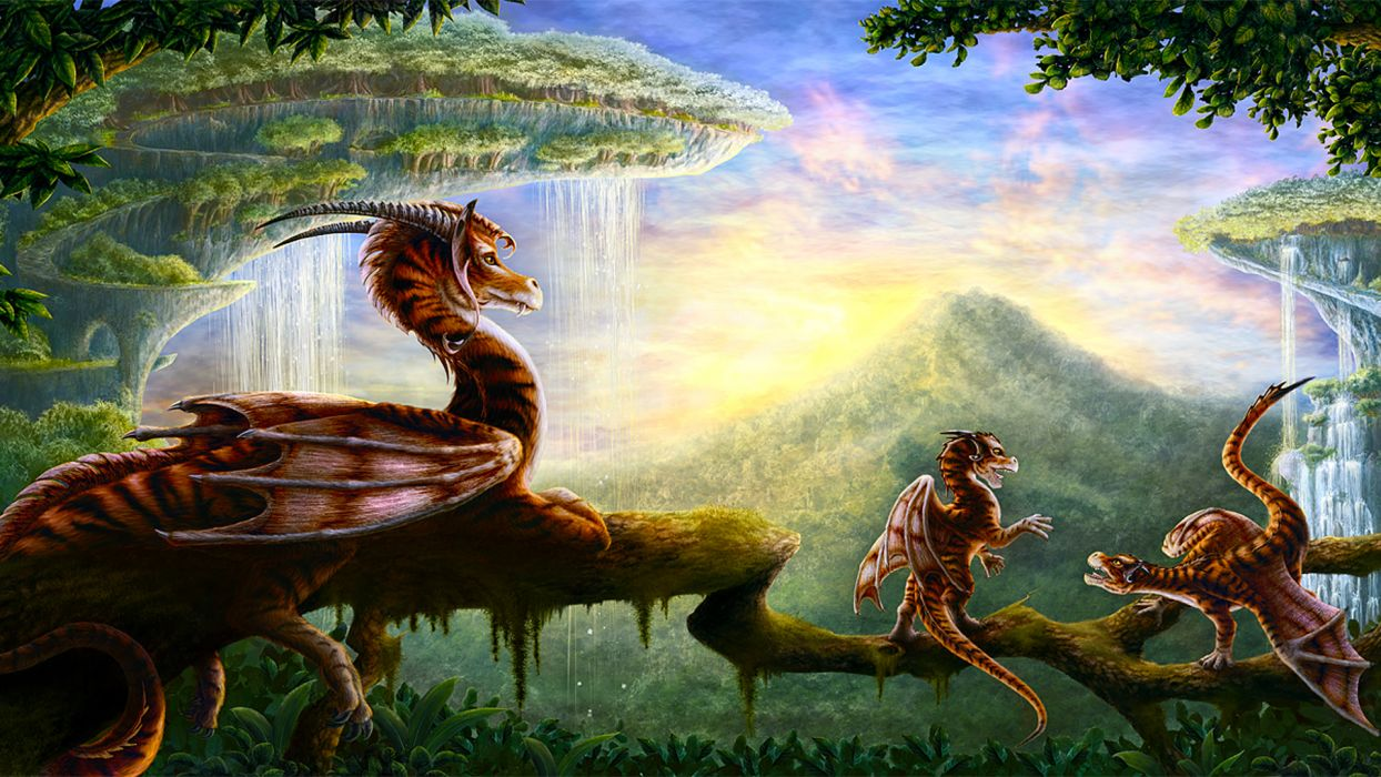 fantasy art dragons waterfall forest trees landscapes wallpaper