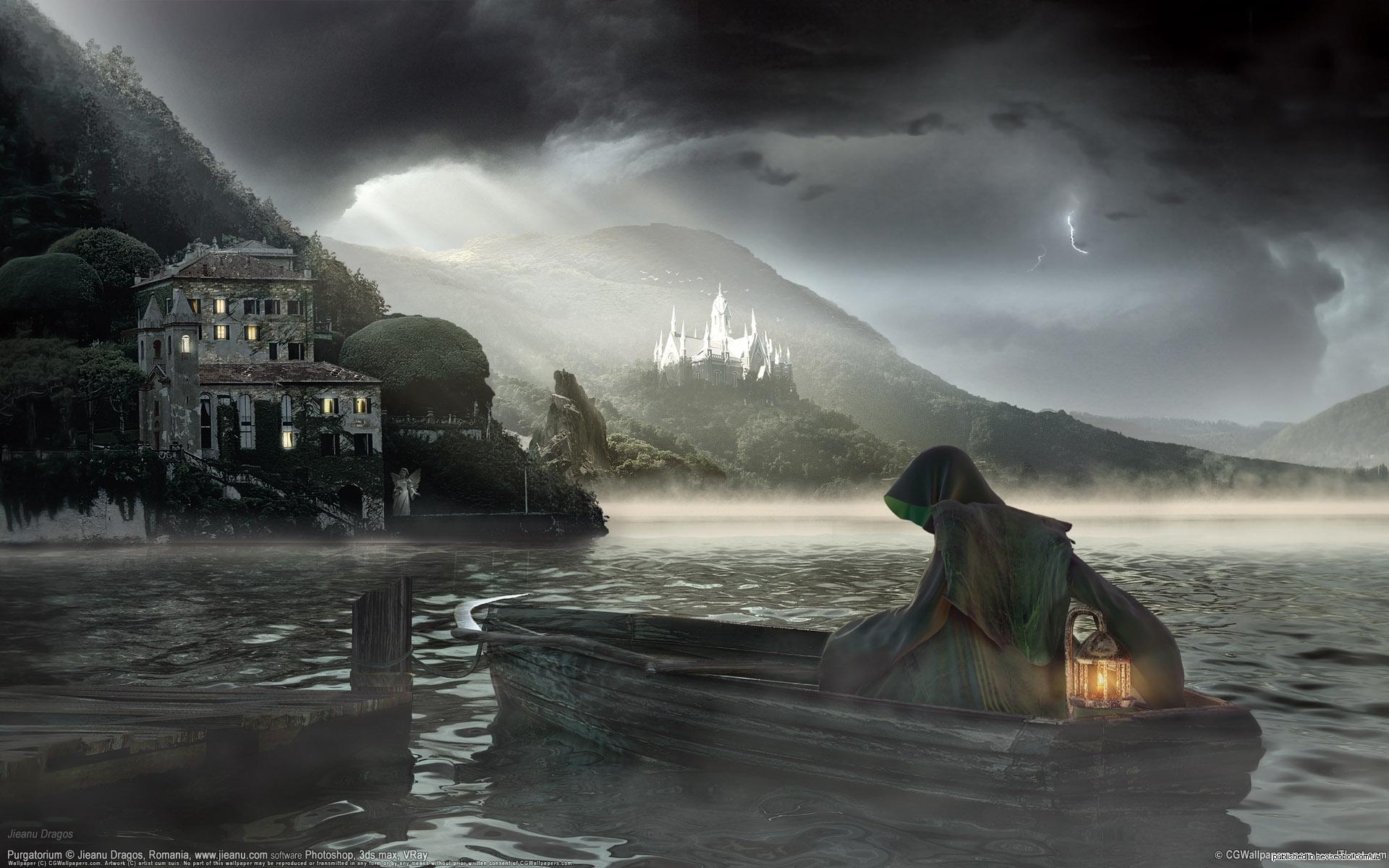 Image Detail For Dark Mysterious Hd Fantasy: Dark Horror Fantasy Gothic Castle Lamp Reaper Boat
