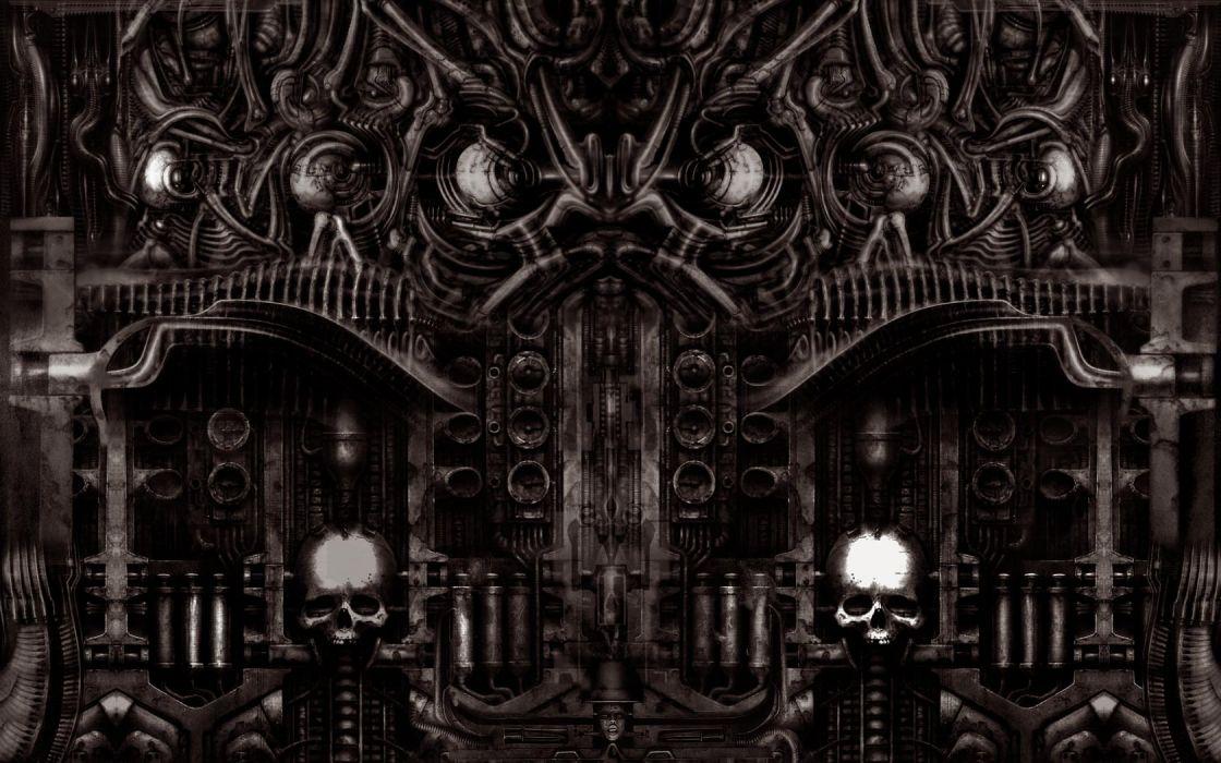 dark horror gothic sci fi skull art wallpaper
