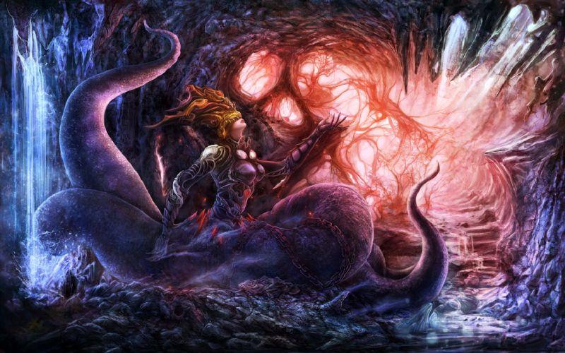 dark horror fantasy women monster art wallpaper