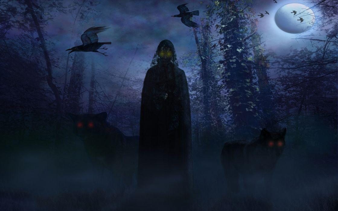 Dark Horror Fantasy Demon Evil Occult Wolf Wallpaper
