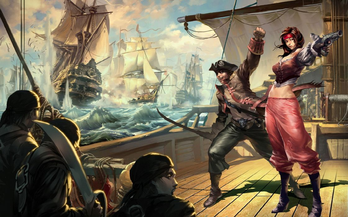fantasy action adventure pirate weapons sword women men ships ocean art wallpaper