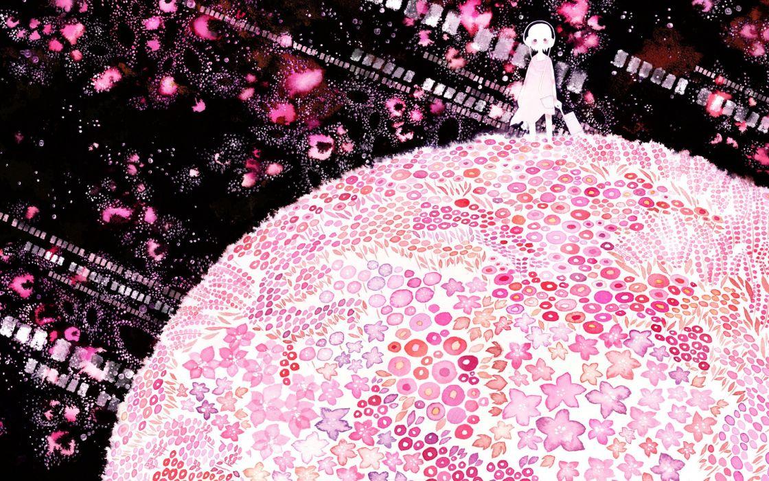 pink world girl art wallpaper