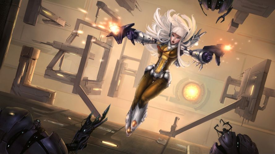 sci fi android cyborg robot weapons guns anime monsters art wallpaper