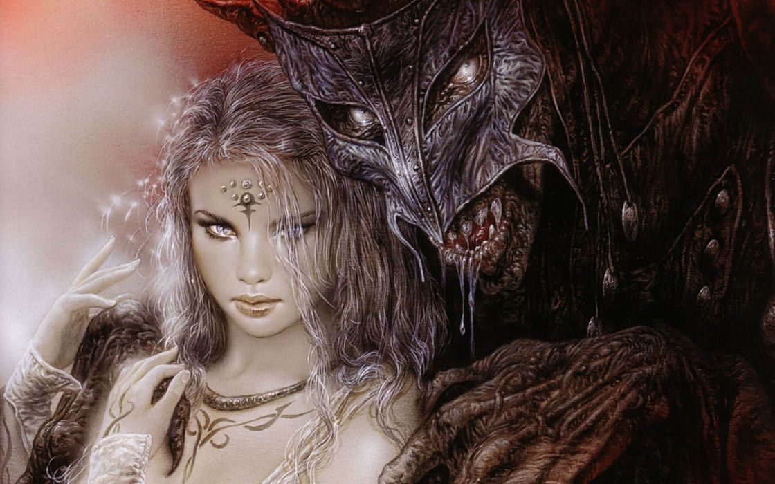 Luis Royo fantasy dark horror demon women art mask monster gothic warrior wallpaper