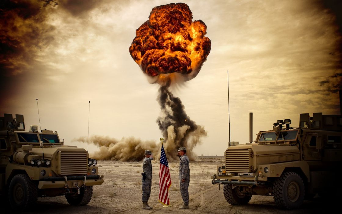 military soldiers warriors vehicles trucks explosion bomb weapons wallpaper