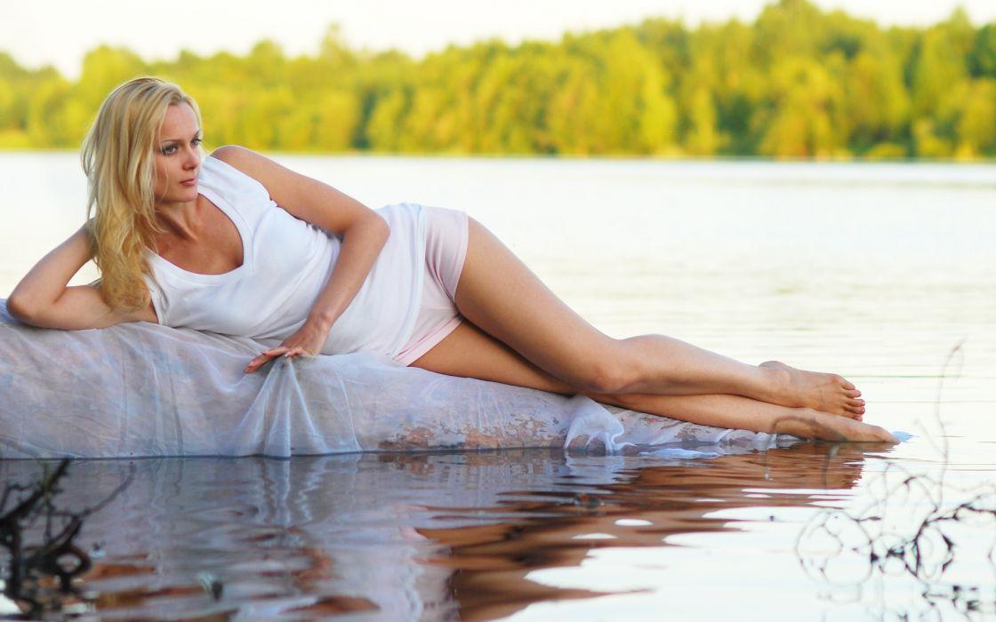 women model blondes sexy babes lakes wallpaper