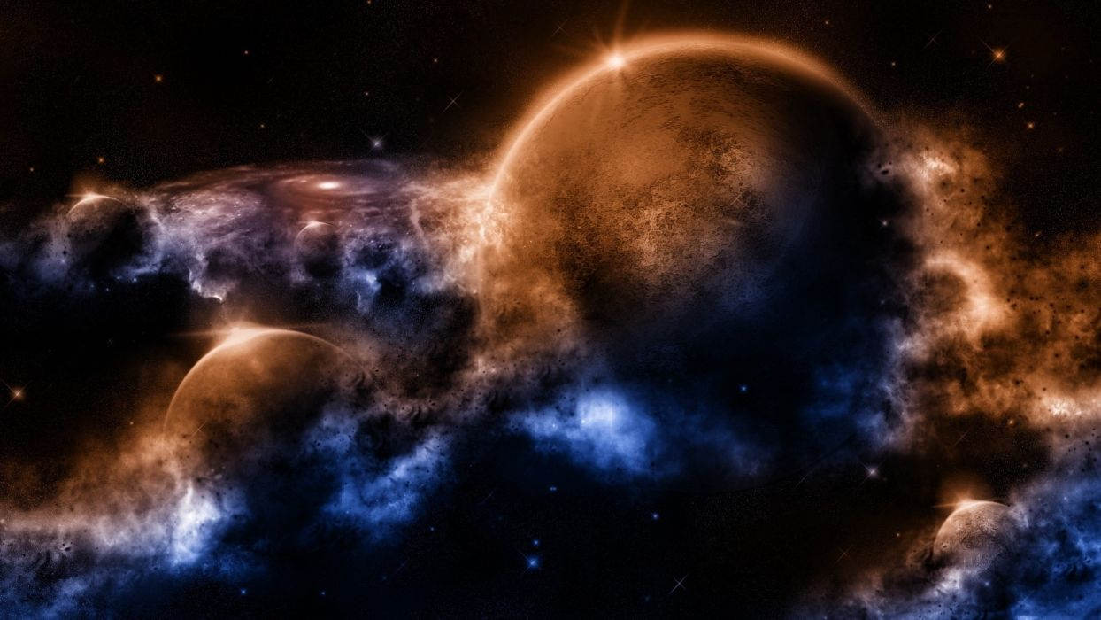 sci fi space planets nebula stars art cg wallpaper
