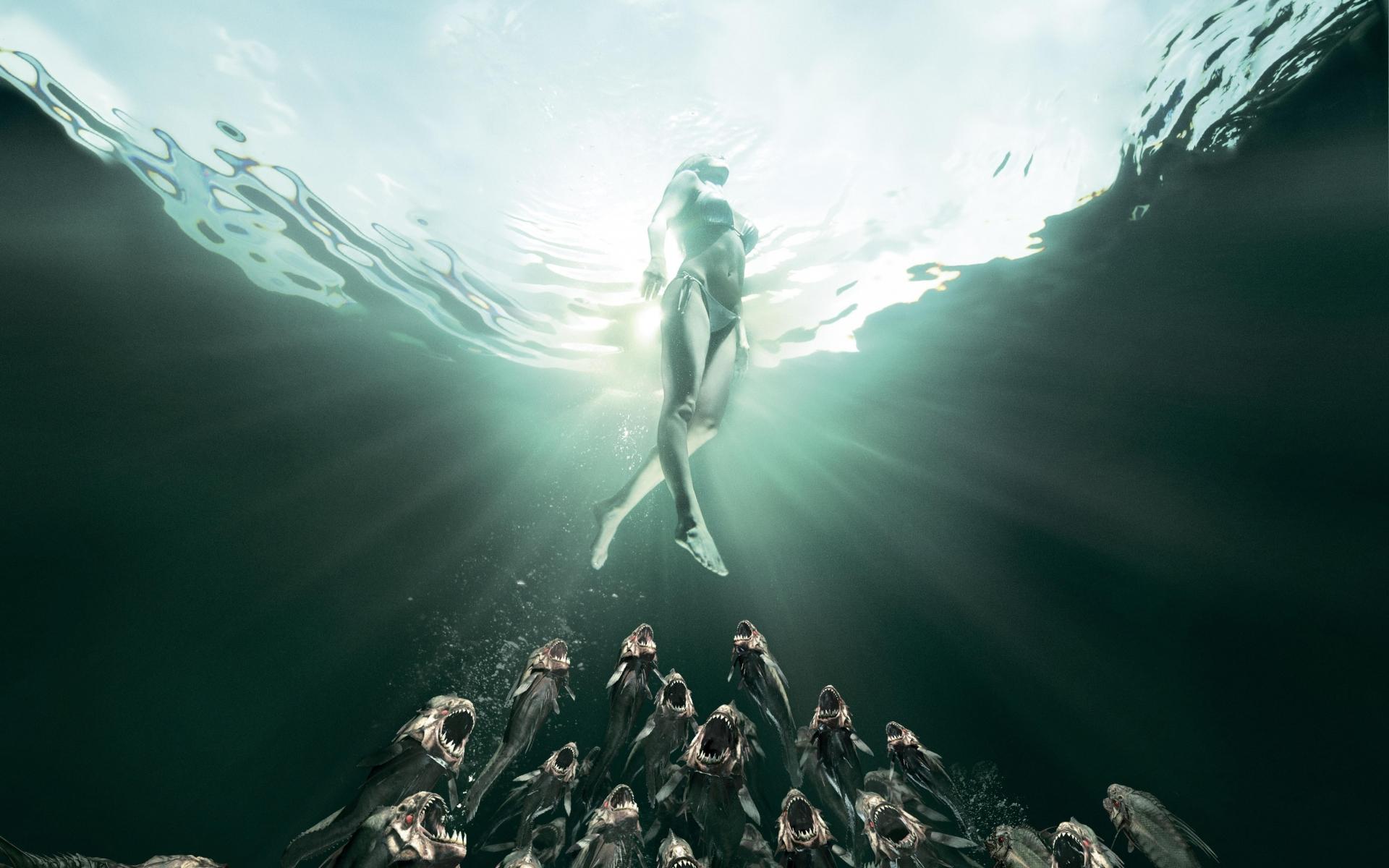 Piranha 3DD Movie Poster dark horror evil women bikini ...