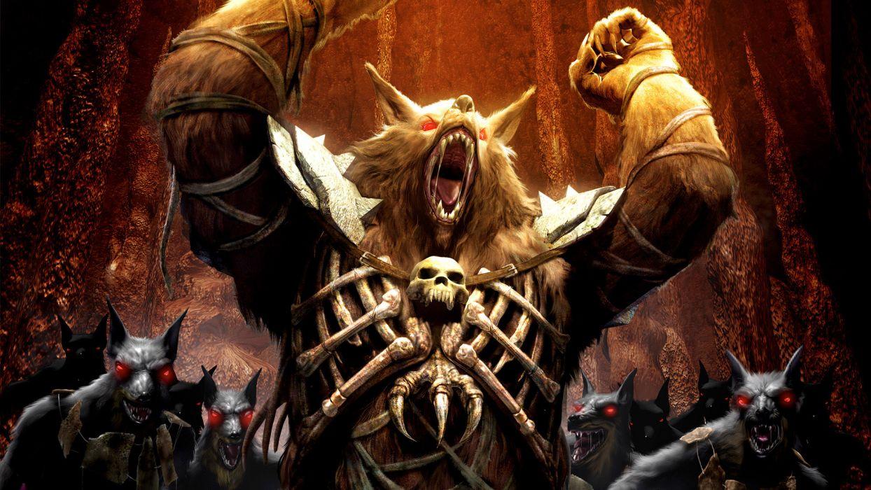 fantasy dark horror monster werewolf demon art wallpaper