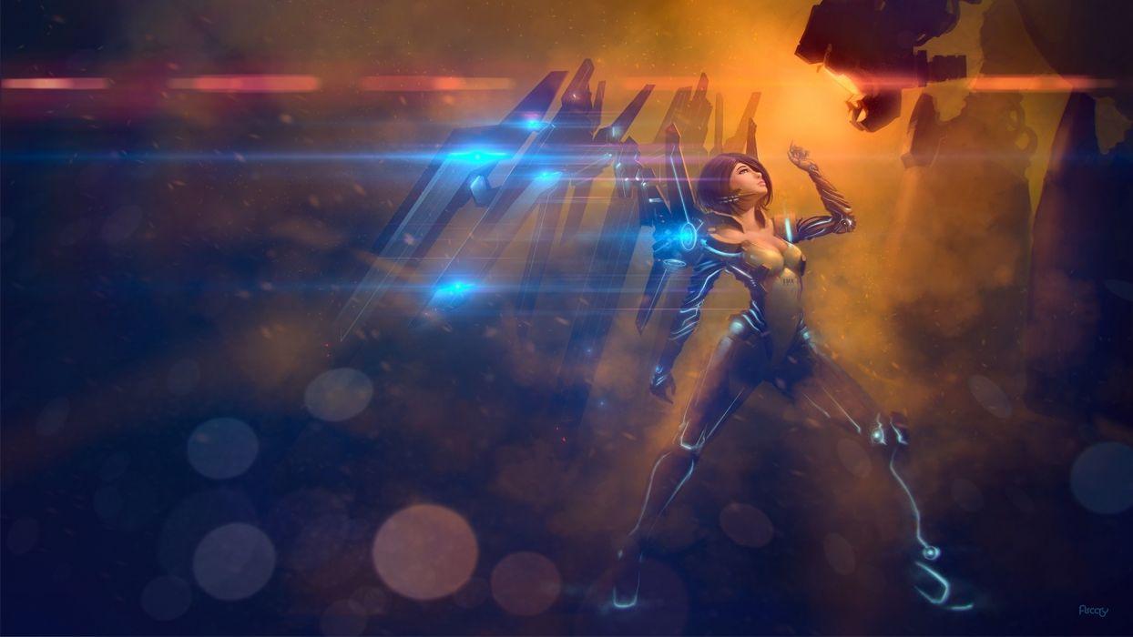 sci fi angel robot cyborg android mech tech art wallpaper