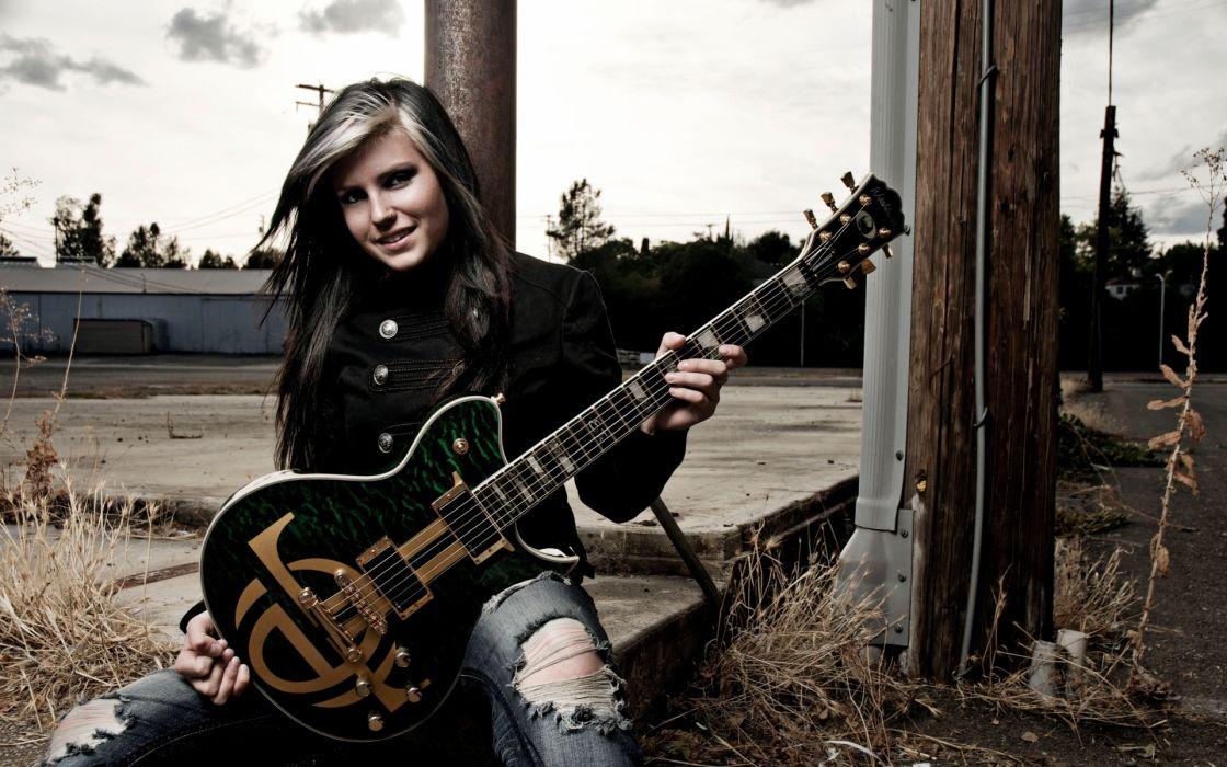 women jeans music piercings guitars taylor mccutchan evil twin girl wallpaper