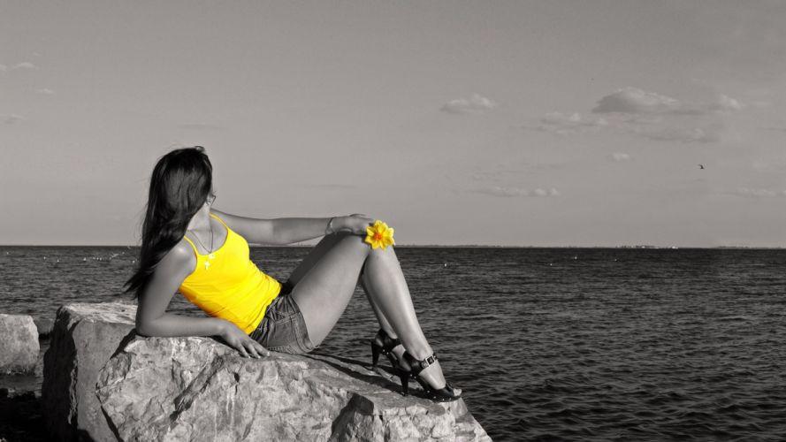 selective black white color women model sexy babes ocean sky wallpaper