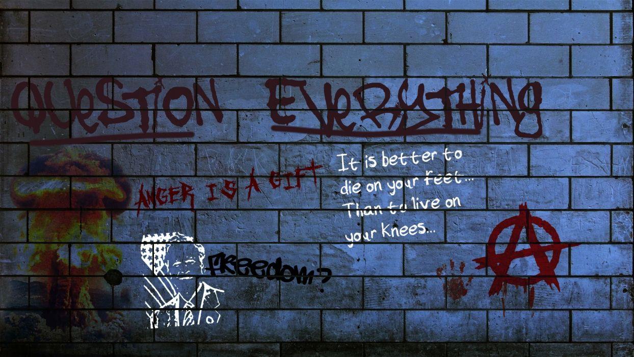 dark horror anarchy graffiti urban art paint text wallpaper