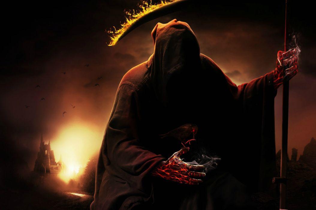 Dark horror evil death grim reaper weapon scythe wallpaper