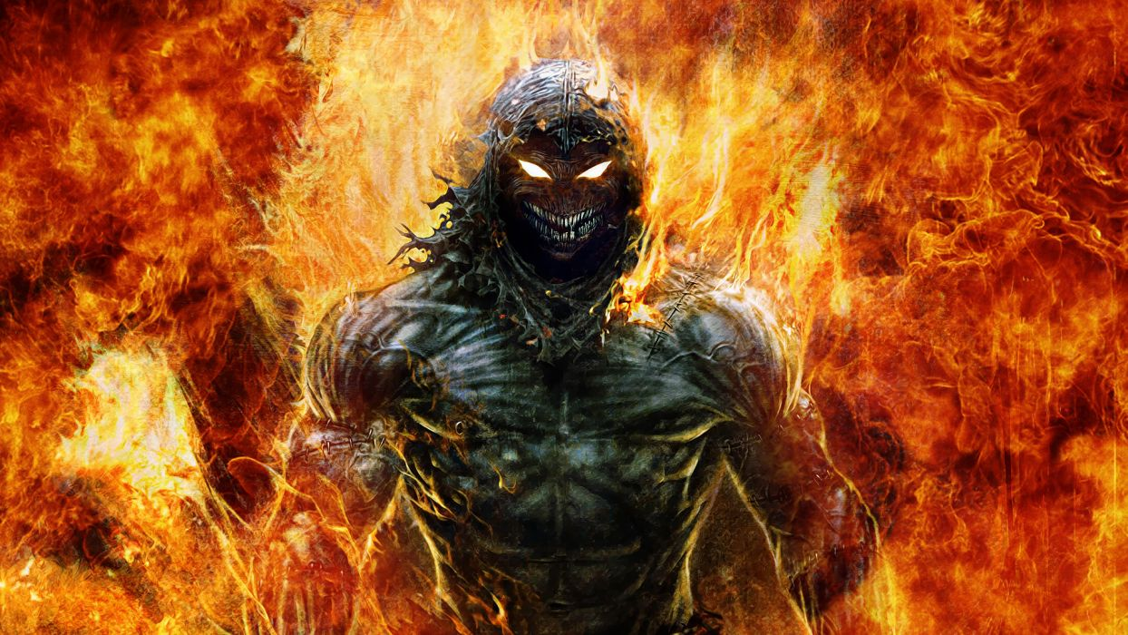 Disturbed fantasy dark horror demon fire hell metal rock wallpaper
