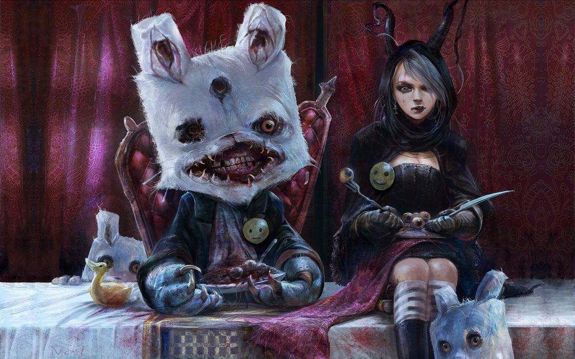 Hong Kuang dark horror anime alice fantasy gross gore rabbit wallpaper
