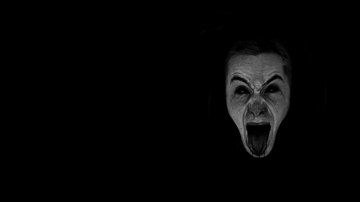 dark horror gothic mood scream expression evil face wallpaper