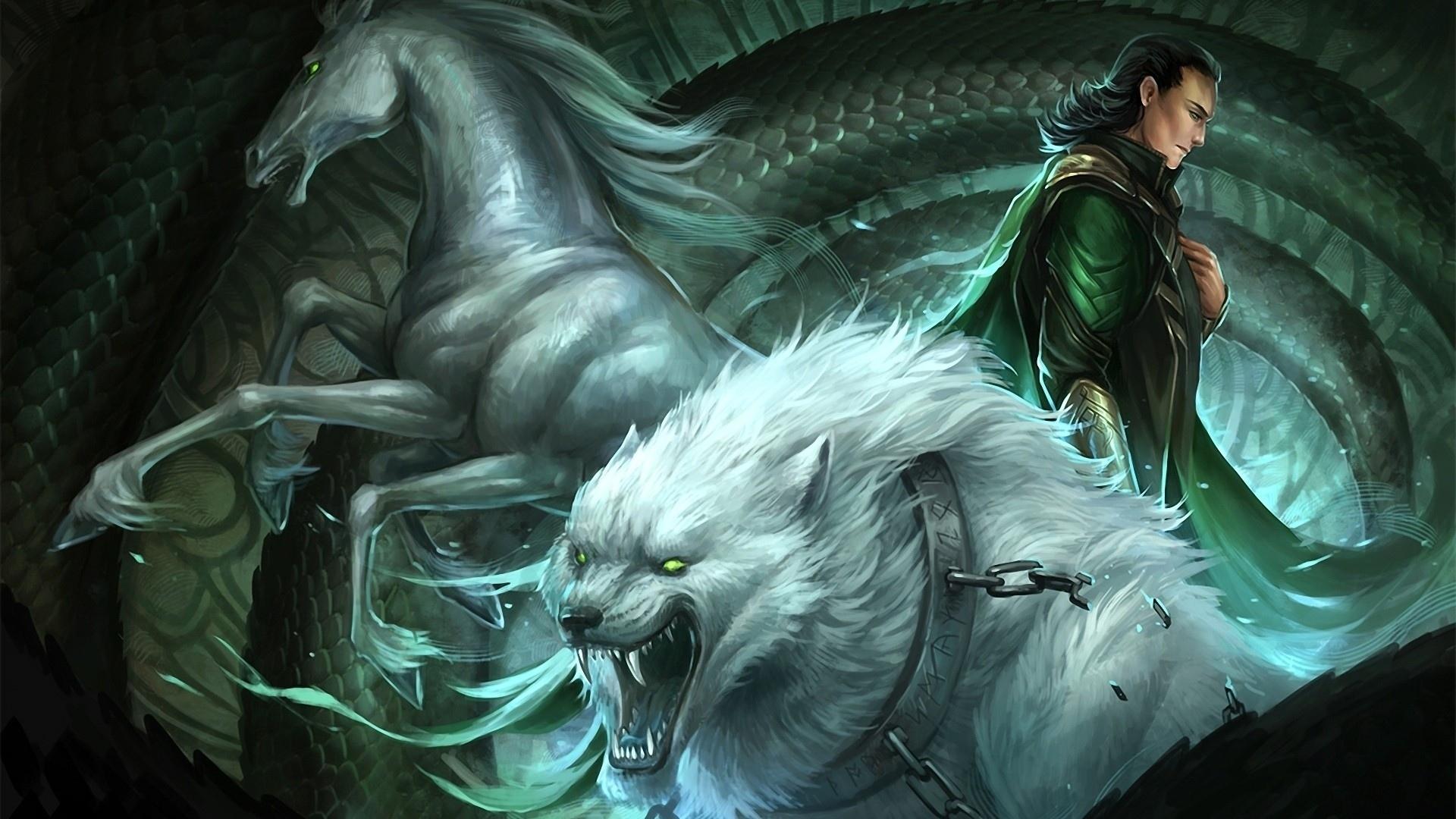 Loki039s Children By Sandara Asgard Fantasy Books Animals Horses Wolves Art Men Magic Monster Wallpaper