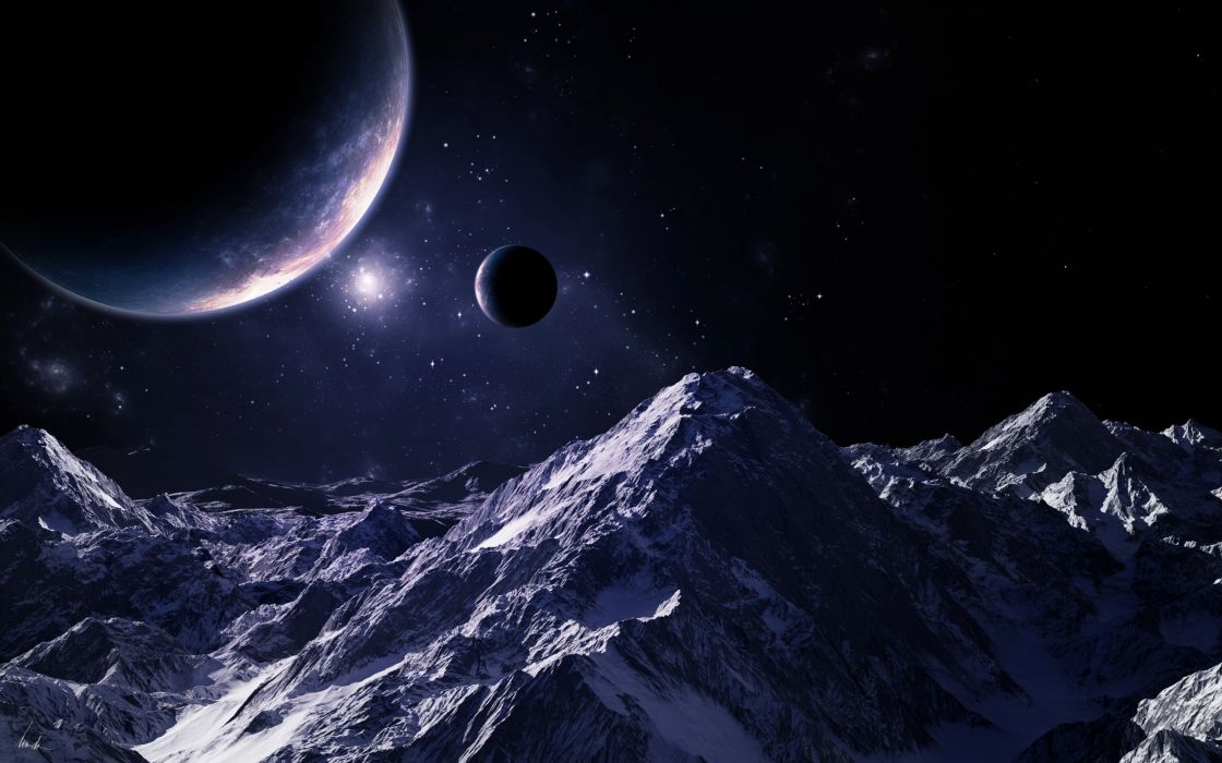 sci fi landscapes mountains planets stars moon wallpaper